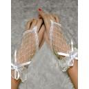 Rokavice čipkaste  kratke  brez prstov  bele