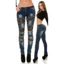 Jeans hlače Used look s črno čipko