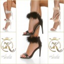 Sandali High heel feathers