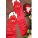 Rdeče elegantne rokavice s čipko